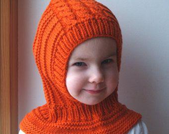 LISTO para enviar todos los tamaños! Pasamontañas naranja Merino, bebé y niños pequeños/niños con capucha gorro y Braga cuello.