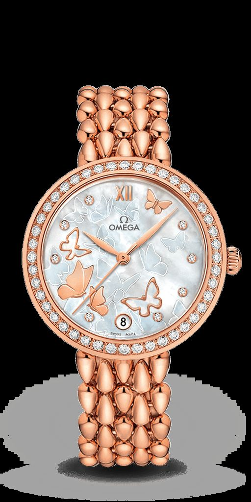 """in search of a romantic and feminine statement for the De Ville collection, OMEGA has created an astonishing range of Prestige """"Dewdrop"""" Co-Axial watches, all capturing the magical and graceful qualities of a butterfly.  In this 32.70 mm model, the 18K red gold case is enhanced by a delicate diamond-set bezel, 18k red gold has again been used for the leaf-shape hands and 5-link Dewdrop bracelet.  This elegant timepiece is powered by the OMEGA Co-Axial calibre 2500."""