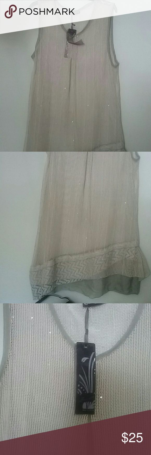 NWT Midi Dress/Tunic Size XL Beautiful  Gray see thru dress or tunic. Has sequins in scattered throughout the dress. It can be worn also as a bathing suit cover-up. Dress it up or down. The possibilities are endless. Firmianality Dresses Midi