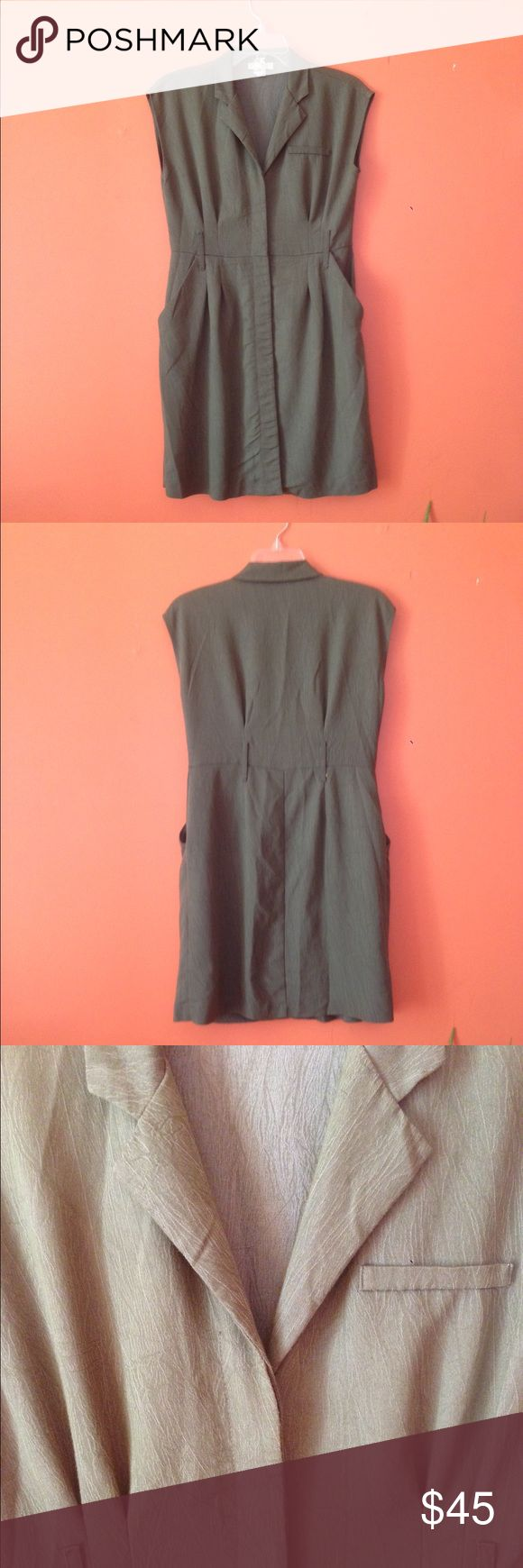 Vintage // Olive Button Up Dress Super cute small cap sleeve button up dress. Would keep but it is a little small on me. Nice muted olive green color. Dresses