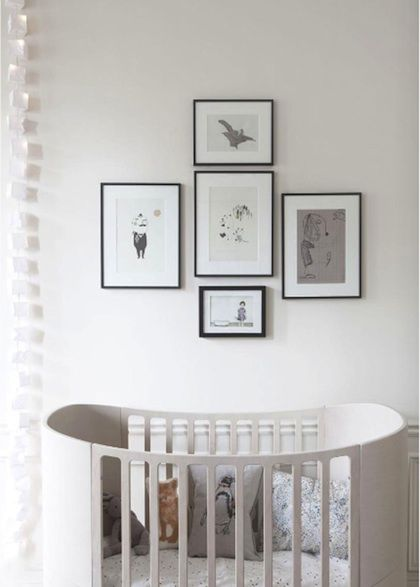 .Grey Interiors, Ideas, White Nurseries, Frames, Kids Room, Black White, Baby Room,  Electric Switched, Cribs
