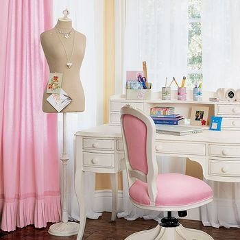 sewing room, dressing room, craft room, pink chair, so cute, white desk, girlie, pretty