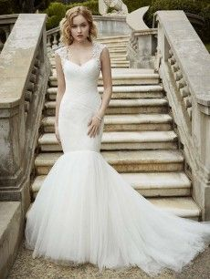 Ivalo- asymmetrical rushed tulle bodice and gorgeous sparkling beaded cap sleeves.