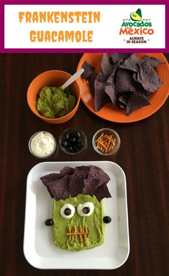 Frankenstein Guacamole for Halloween - celebrate Halloween with this fun Franken-guac! @produceforkids