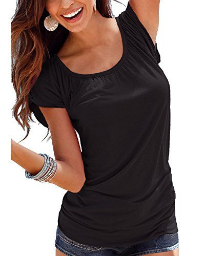 Coutgo Women Round Neck Top Solid Short Sleeve T Shirt Tunic Blouse (L, Black)   Special Offer: $11.99      400 Reviews Measurements: 1. Use similar clothing to compare with the size. 2. Choose larger sizes if your size are same as the flat measurement Size chart. ...
