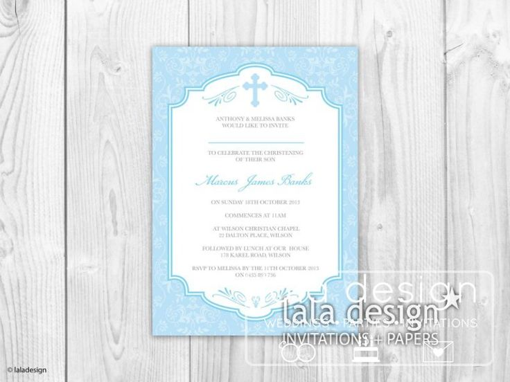 Blue christening invitation