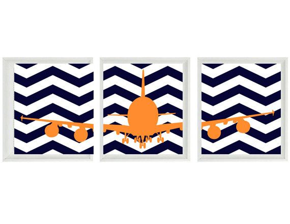 Airplane Nursery Art  Chevron Navy Blue Orange by RizzleandRugee, $42.00