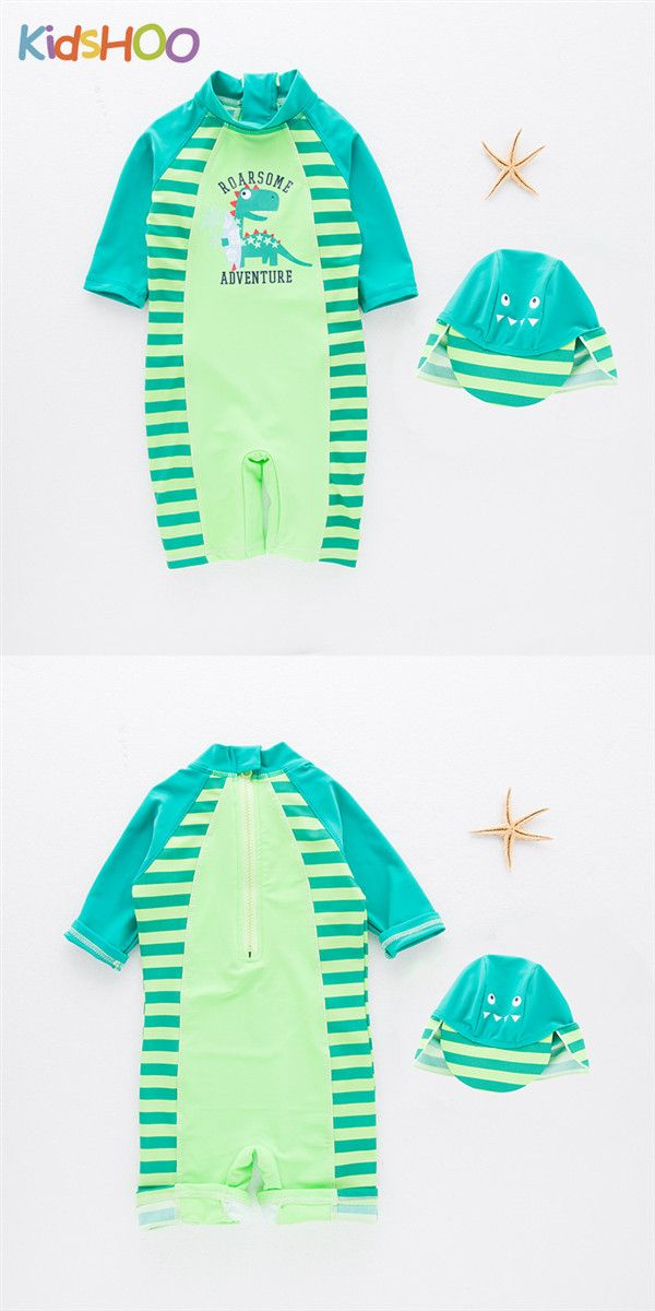 e31095c150c73 Toddler Boys Print Dinosaur Stripes Swimsuit With Swim Cap | Kid ...