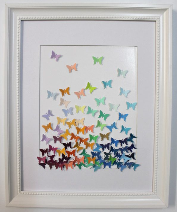 Butterfly Art Using Paint Swatches - Supplies: Cardboard colour samples (from a paint shop), Butterfly stamp punch, A white or a colour of your choice Picture Frame or canvas, Glue.