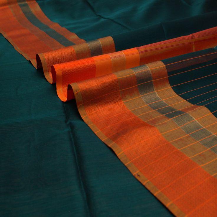 Handwoven Emerald Green Silk Cotton Sari with Ganga Jamuna Border 8205 – Padma Paaduka