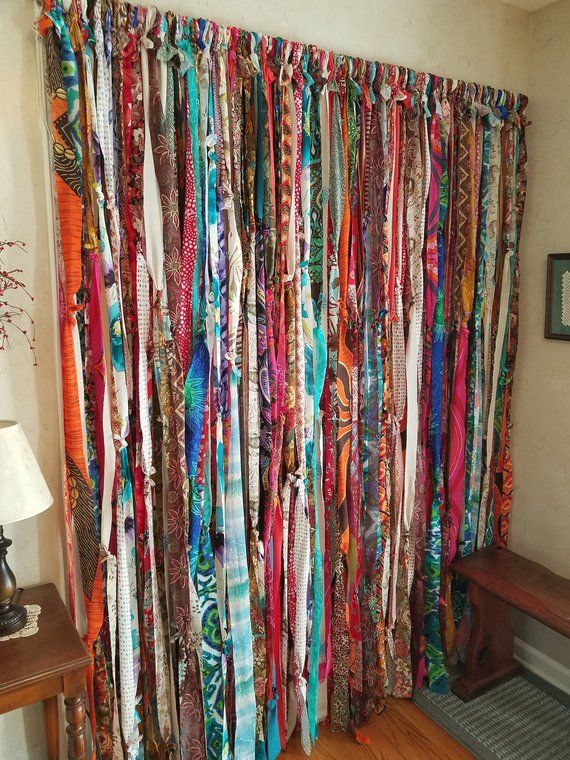 This Boho Curtain Is A Wonderful Blend Of Every Color Reds Blues Aqua Greens Creams Oranges Som Room Divider Curtain Hippie Curtains Fabric Room Dividers
