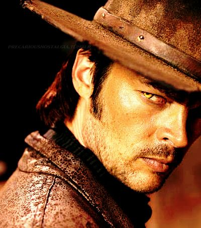 Karl Urban plays Black Hat in the movie priest. The movie is about these vampire like beings that remind me of slugs with legs. Black Hat was the first human-vampire changed by the vampire queen. He is  the ultimate bad vampire.  And the actor's hot.... just sayin'