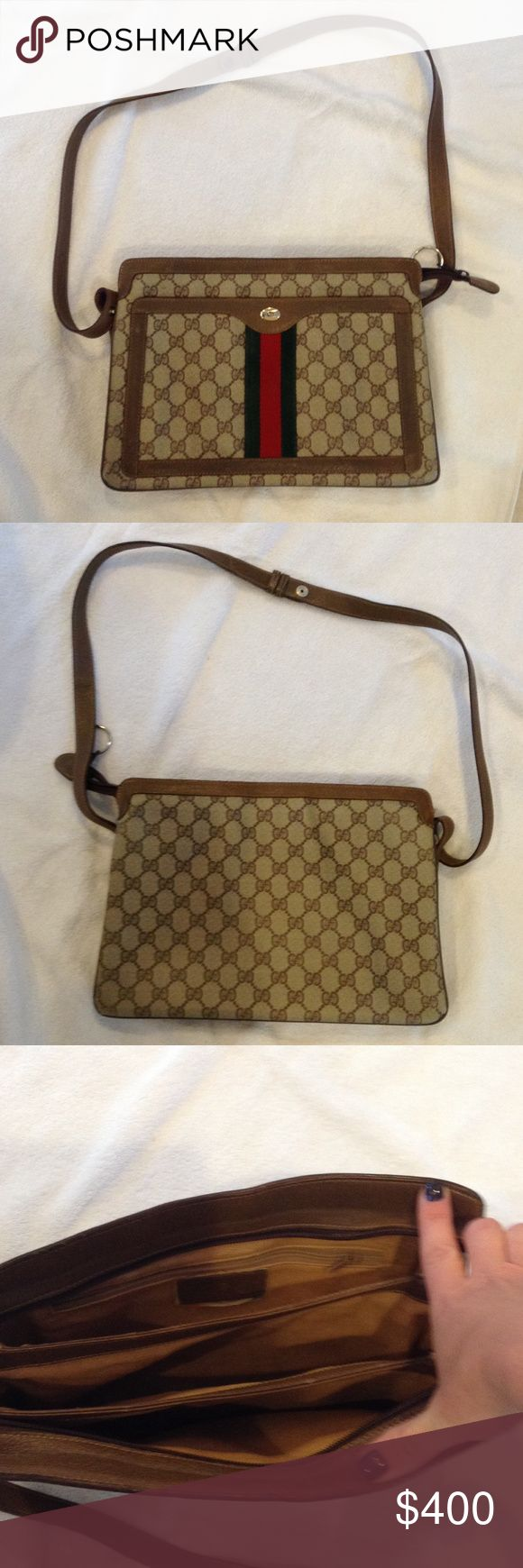 VINTAGE AUTHENTIC GUCCI MESSENGER BAG AUTHENTIC GUCCI. DATE CODE SEEN IN PICTURE 4. Gently worn. NO STAINS OR TEARS!!  Amazing bag. Leather and canvas. Strap approx 18 inches Gucci Bags Crossbody Bags
