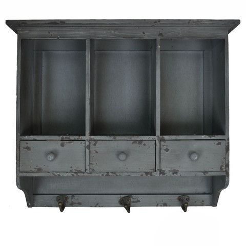 Distressed Wooden Hanging 3 Section Wall Cabinet with Cubbies and Draw – lightaccents.com
