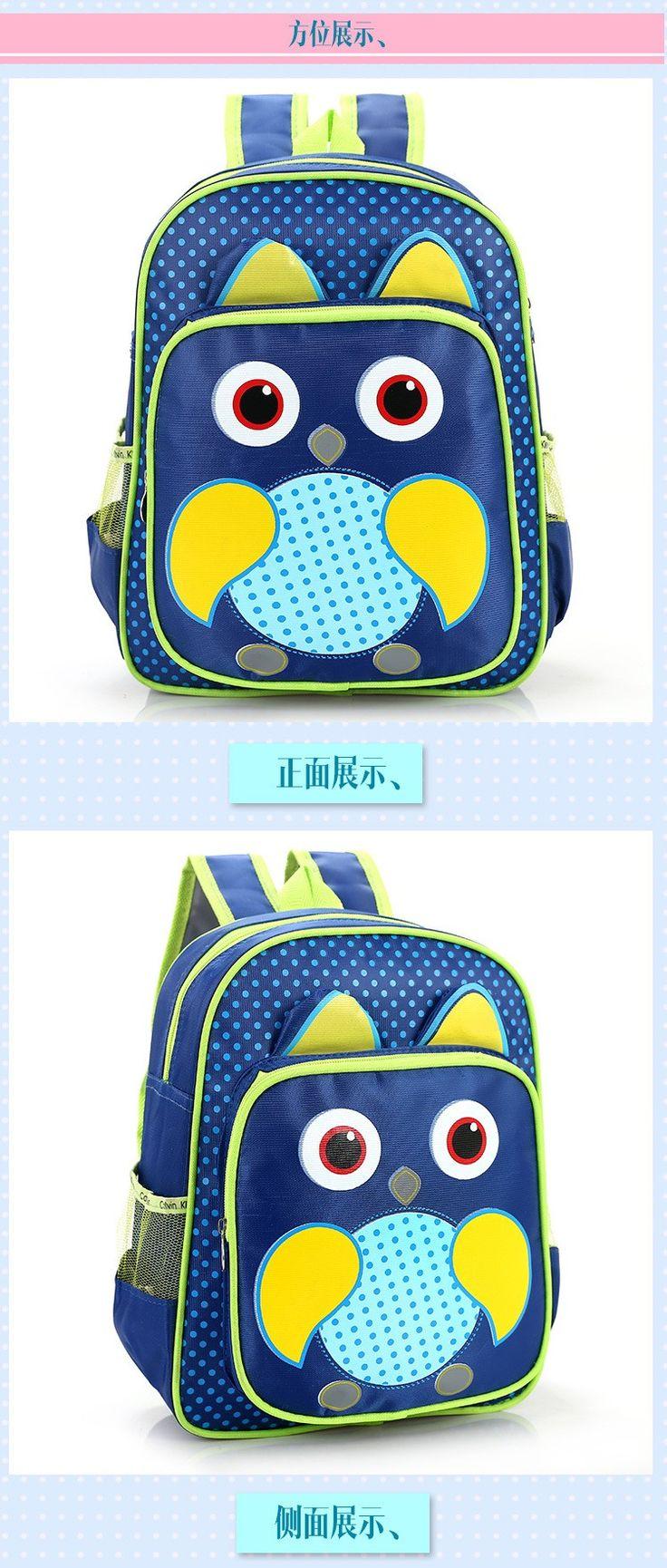 Cute Little Boys and Grils Canvas Backpack Kindergarten Kids Cartoon Animal Design School Bags