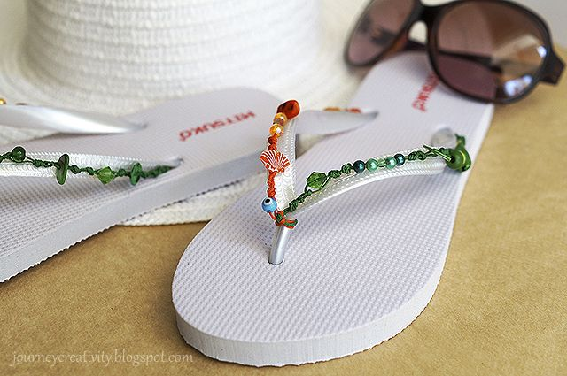 Journey into Creativity: Colorful beads flip flops