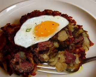 Roast Beef Hash: Made for a wonderful dinner tonight to use up the left over shredded pot roast
