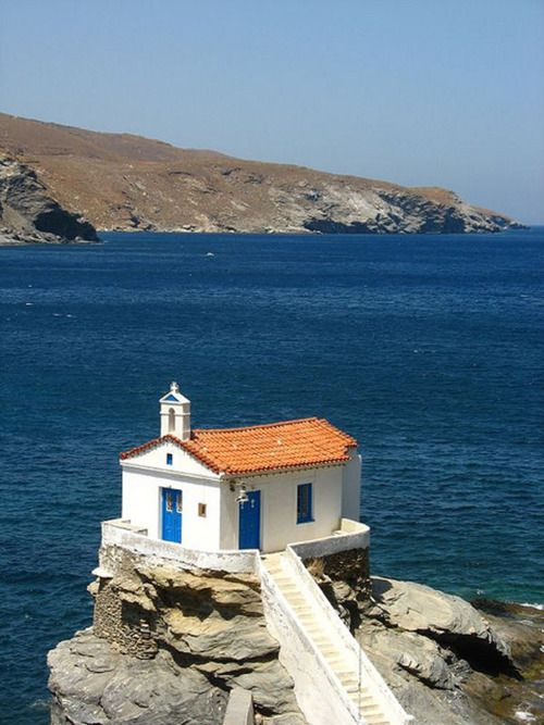 Panagia Thalassini church in Andros island, Greece