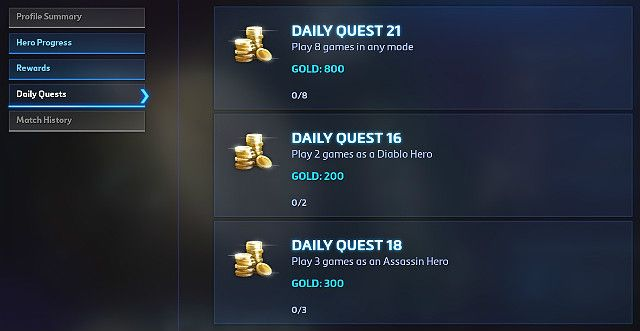 In the Daily quests tab, you can check what you can do and how much gold youll get - Players profile - How to start - Heroes of the Storm - Game Guide and Walkthrough