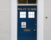Police Box door decal vinyl sticker Its bigger on the inside