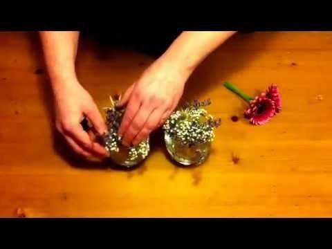 DIY klein bloemstukje! Van rest bloemen. Geef bloemen uit je boeket een tweede kans.