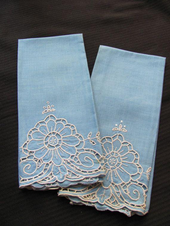 Vintage linen guest hand towels