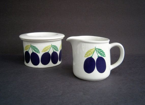 Arabia Finland Pomona Olive Creamer & Jam by RobinsRoostVintage, $98.00