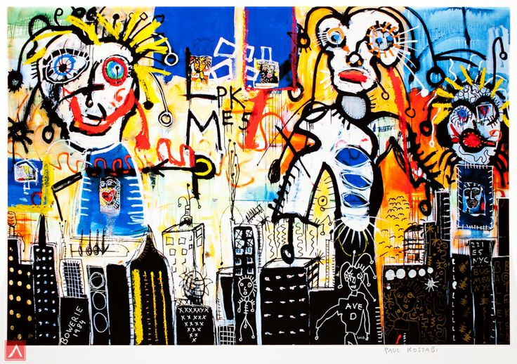 """Paul Kostabi: """"Ave. D"""" (2013) is a handsigned & numbered gliclée."""