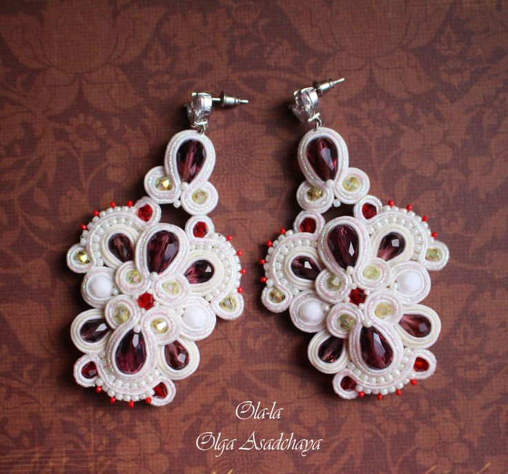 "earrings ""Openwork"" Plum dessert soutache, crystal and glass beads, Japanese beads, hypoallergenic shvenzy stud with zircons"