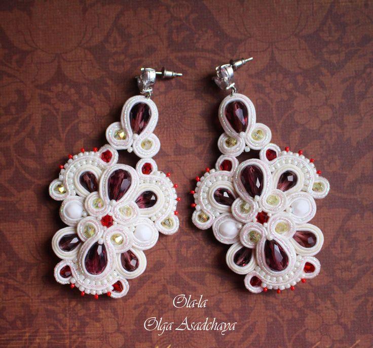 "earrings ""Openwork"" Plum dessert soutache, crystal and glass beads, Japanese beads, hypoallergenic shvenzy stud with zircons"