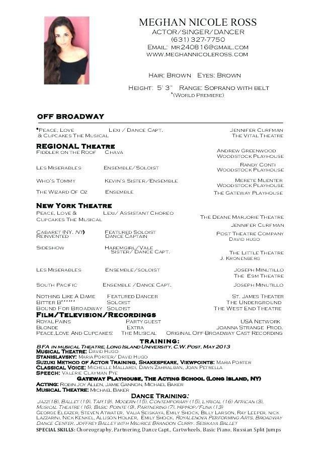 Dance Resume Examples Ballet Dancer Resume Sample Samples Dance Resume Acting Resume Acting Resume Template