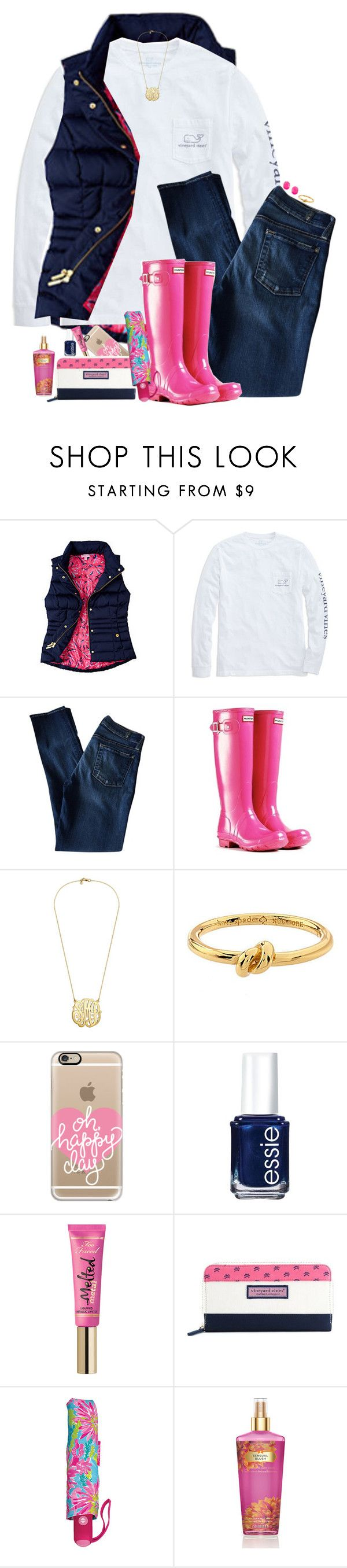 """""""It's Really Rainy Out Today"""" by teamboby ❤ liked on Polyvore featuring Vineyard Vines, 7 For All Mankind, Kendra Scott, Kate Spade, Casetify, Essie, Too Faced Cosmetics, Lilly Pulitzer and Victoria's Secret"""
