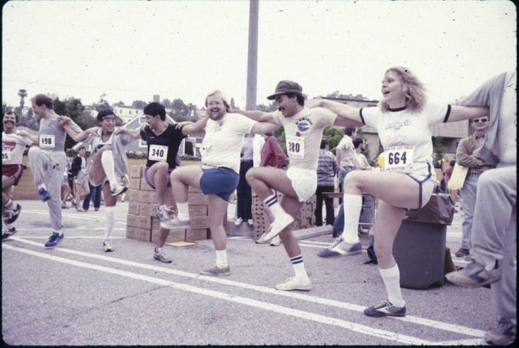 Running race at parade Preparing for the running race at the Los Angeles Christopher Street West pride parade. 1982 :: ONE National Gay and Lesbian Archives