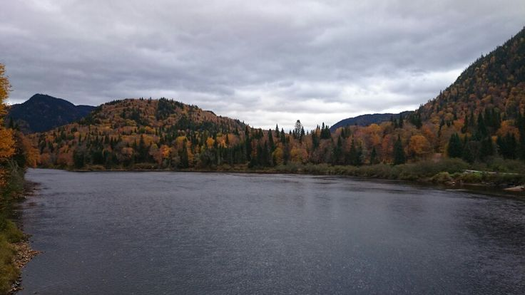 Beautiful scenery of some mountains in Quebec during fall.