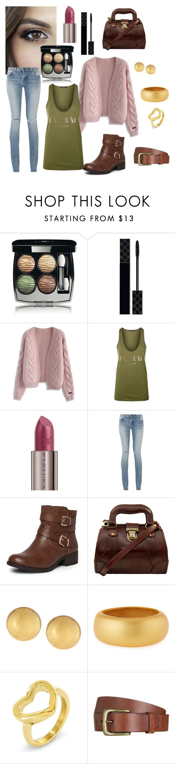"""""""For brown eyes"""" by martina-b33 ❤ liked on Polyvore featuring Chanel, Gucci, Chicwish, Balmain, Urban Decay, Yves Saint Laurent, Dorothy Perkins, Mémoire, Kenneth Jay Lane and West Coast Jewelry"""