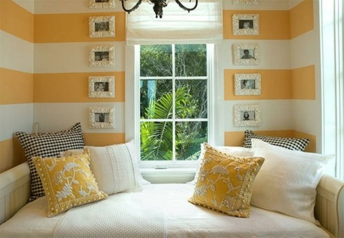 stripes for a small nook, cute and not too much.  Sunroom?
