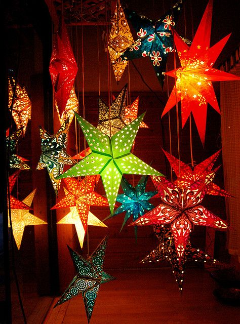 Star Lanterns - I'd love to do a multi-level hanging arrangement with my glass star lanterns and some LEDs, not sure where though