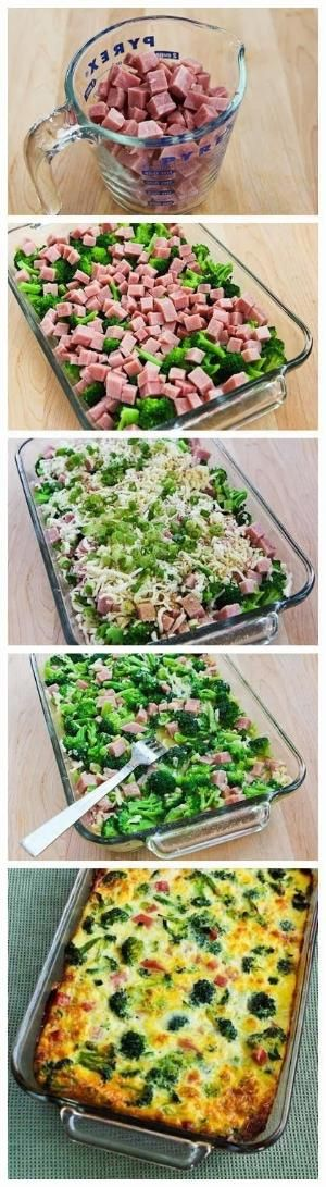 Broccoli, Ham, and Mozzarella Baked with Eggs by tiquis-miquis