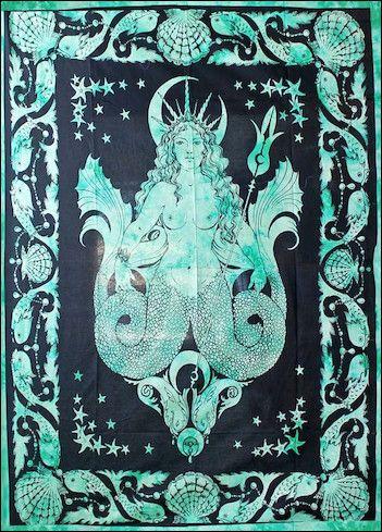 Mermaid Goddess - Teal - Tapestry www.trippystore.com/mermaid_goddess_teal_tapestry.html