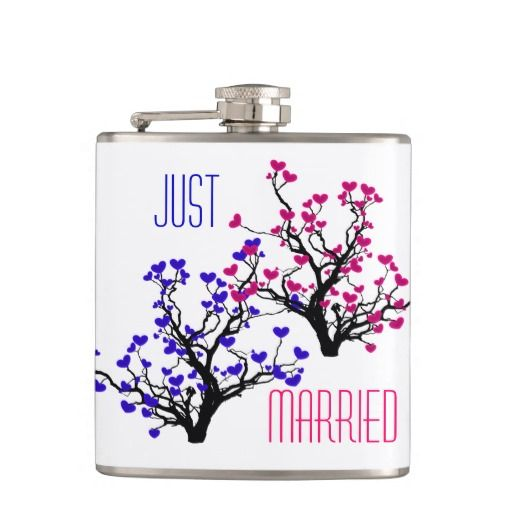 """Personalize Heart Tree Just Married Flask - This flask has two entangled trees, one with blue hearts and one with pink hearts with the words """"Just Married"""""""