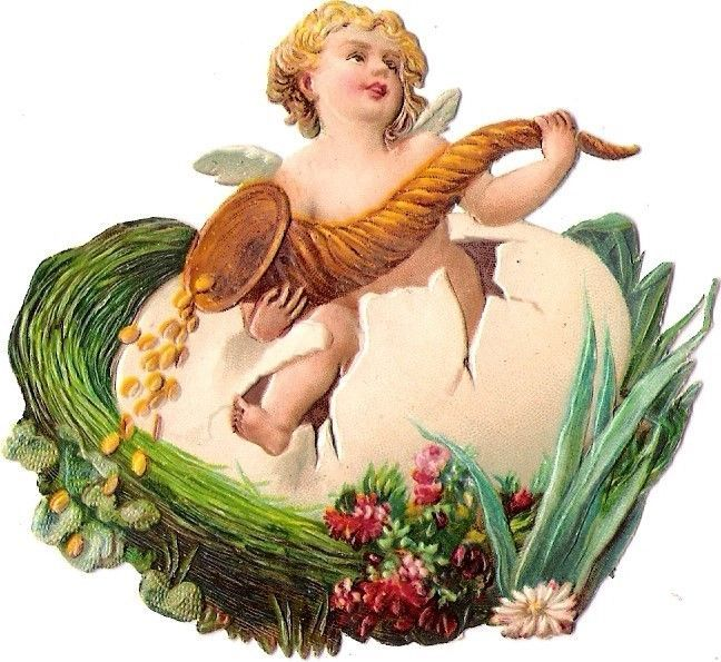 Oblaten Glanzbild scrap die cut  Ostern easter Engel angel  Nest