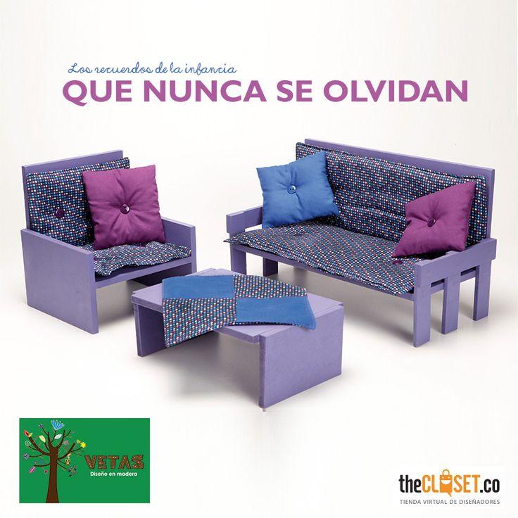 Los recuerdos de la infancia nunca se olvidan. Sala para muñecas en madera de la marca Vetas en http://thecloset.co/vetas