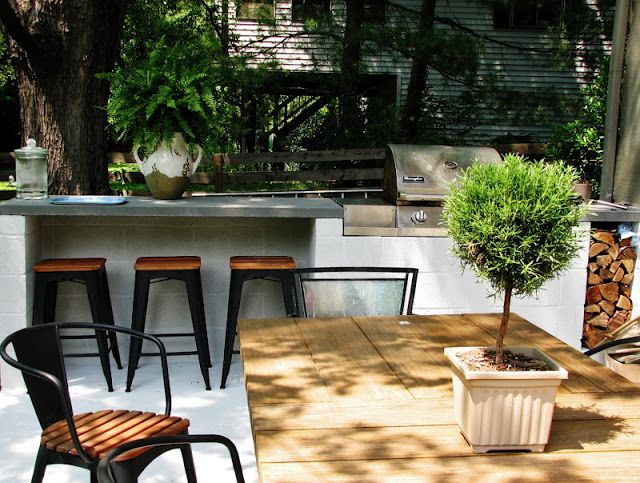 easy cinder block bbq with eating bar. Great for patio