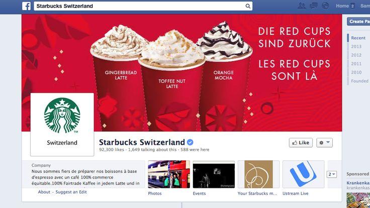 Starbucks Schweiz - vielseitige Inhalte. Man merkt hier, dass sie internationale Inspiration haben. Antworten gut auf Fragen, engagieren die Community.