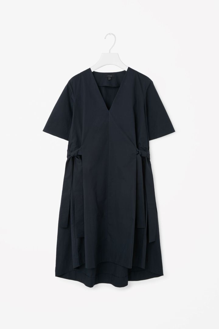 COS image 4 of V-neck dress with tie belts in Navy