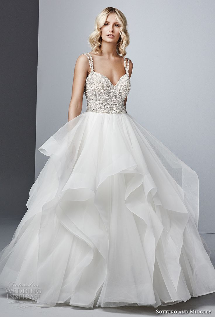 sottero midgley fall 2017 double strap sweetheart neckline heavily embellished beaded bodice layered skirt princess glamorous ball gown wedding dress open strap back chapel train (604) mv -- Sottero and Midgley Fall 2017 Wedding Dresses