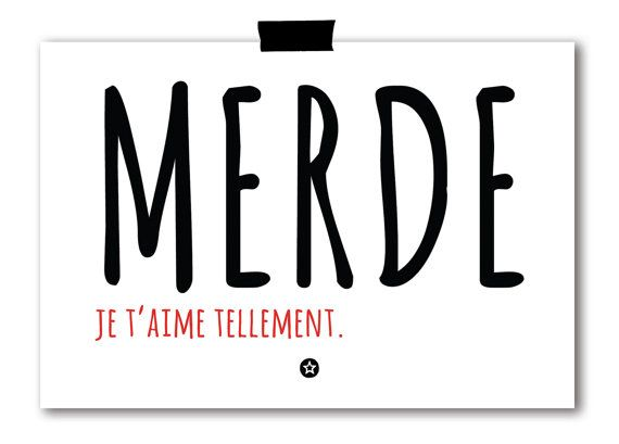 Merde Je t'Aime Card in French. Shit, I love you so :) everything sounds better in French