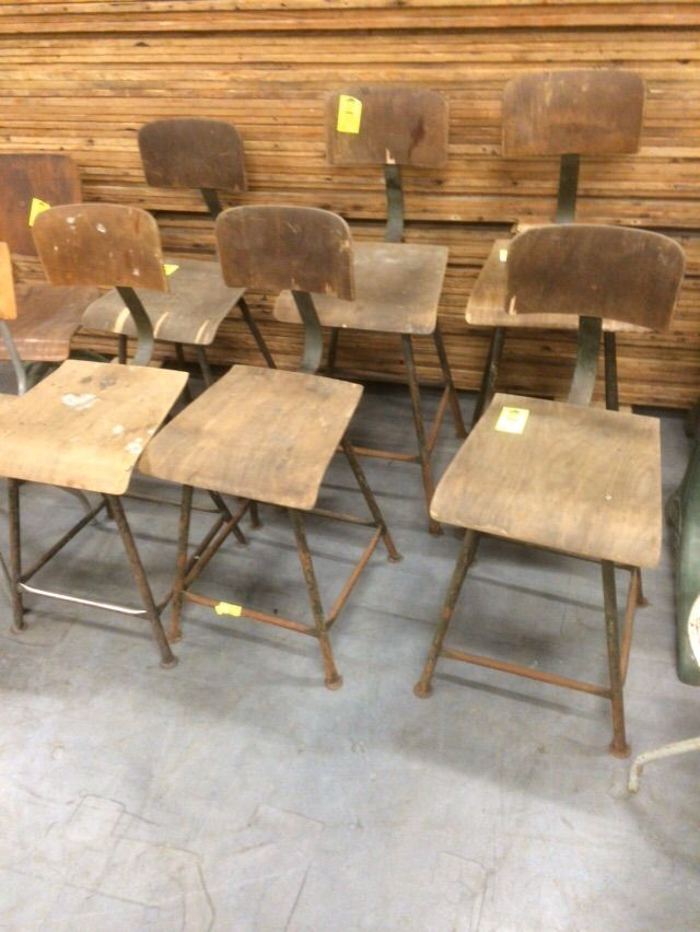 Vintage Industrial French Industrial1950s Desk Chairs #1242