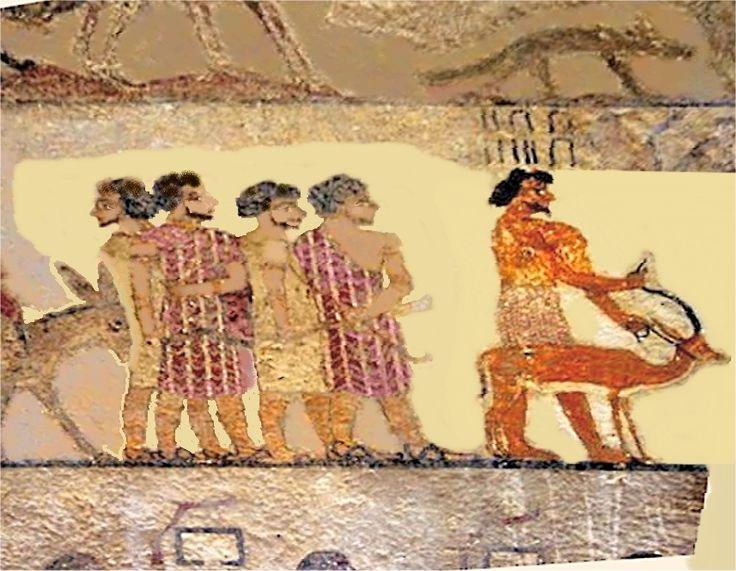 Beni-Hassan asiatiques sémites. Des chacals ou des loups  au-dessus(oupouaout=« Celui qui ouvre les chemins »,  Sed=»celui à la queue»?)