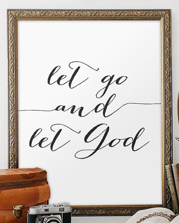 Bible let go and let god christian wall art by TwoBrushesDesigns #printableverses